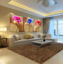 2016 Kırmızı ve Mavi Calla Yağlıboya Duvar Resimleri Üzerinde Oturma Odası Çerçevesiz Duvar Sanatı Tuval Modüler Resimler için 3 Adet Poster(China (Mainland))