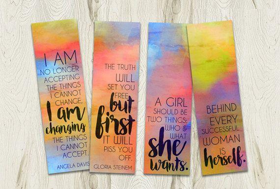 Printable Watercolour Bookmarks Set, Feminist Quotes by PlayfulPixieStudio  #printablebookmark #feministbookmark  #watercolour #rainbow
