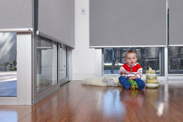 LUXAFLEX® Roller Blinds with Qmotion Technology designed to be cordless, therefore are child and pet safe. #nursery #childfriendly #luxaflex #qmotion #childsafety #windowmotorisation #luxaflexqmotion #rollerblinds #luxaflexrollerblinds
