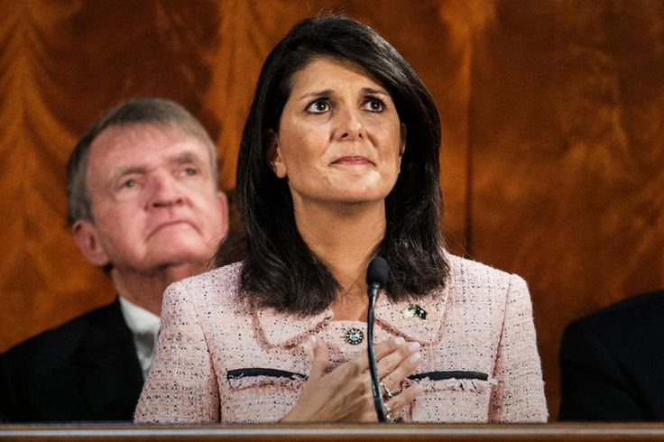Trump appoints unqualified South Carolina Gov. Nikki Haley as US Ambassador to the UN, opening up the SC Governorship to Trump supporter Lt.Gov. Henry McMaster (R).  (Photo by Sean Rayford/AP)