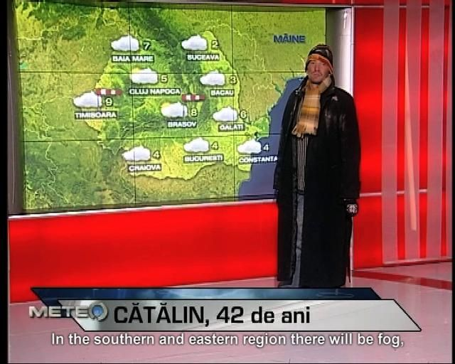 Shall I make you cry? Homeless Romanian Man presents the weather from his point of view for a Day of Hope..