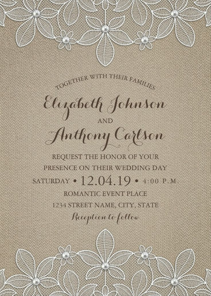 civil wedding invitation card%0A Rustic Burlap Lace Wedding Invitations  Elegant Country Luxury Cards