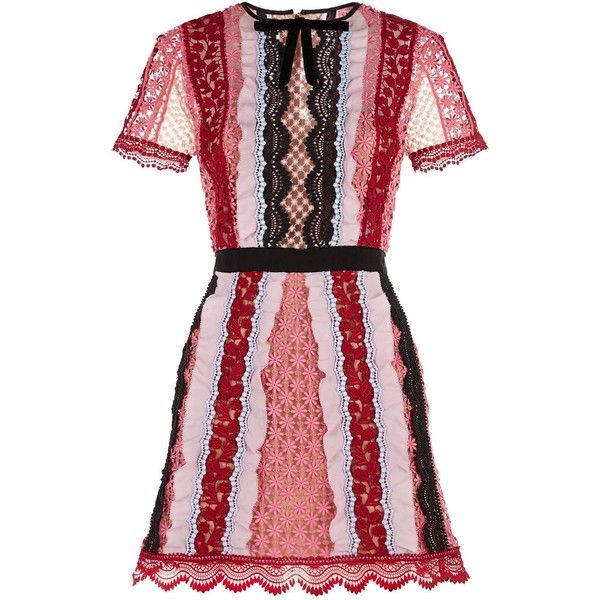 Self-Portrait Striped Lace Dress (12.190 UYU) ❤ liked on Polyvore featuring dresses, red evening dresses, lace cocktail dress, floral lace dress, red holiday dress and holiday dresses