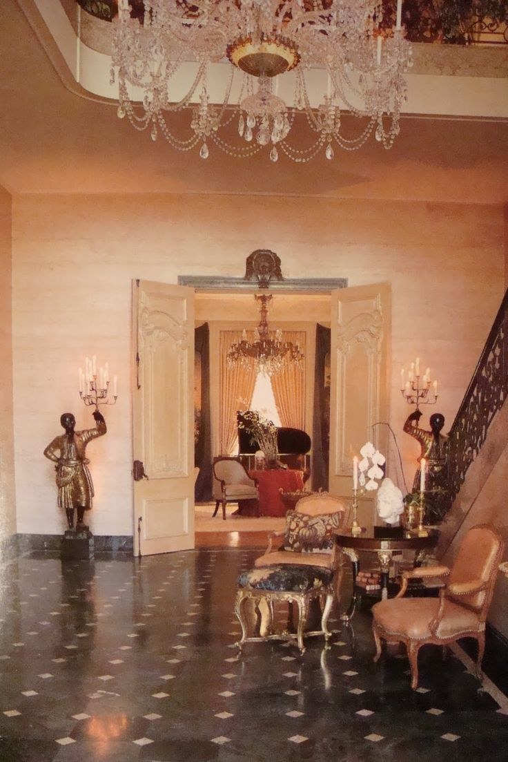 "Kirkeby Estate, Bel Air, from the 1988 book ""Interior Views"" by Chris Casson Madden. A decorator showhouse, the grand foyer was done by Kalef Alaton and Craig Wright, as an homage to Michael Taylor."