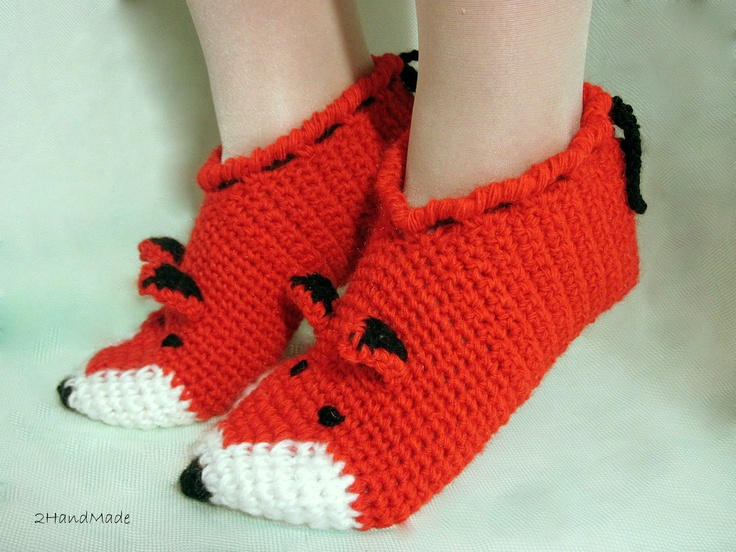 Unisex Adult Chunky Crochet Fox Slippers Women Men Children Teens Funny Silly Winter Merino Wool Woodland Red Ginger Animals Woodland. $25.90, via Etsy.