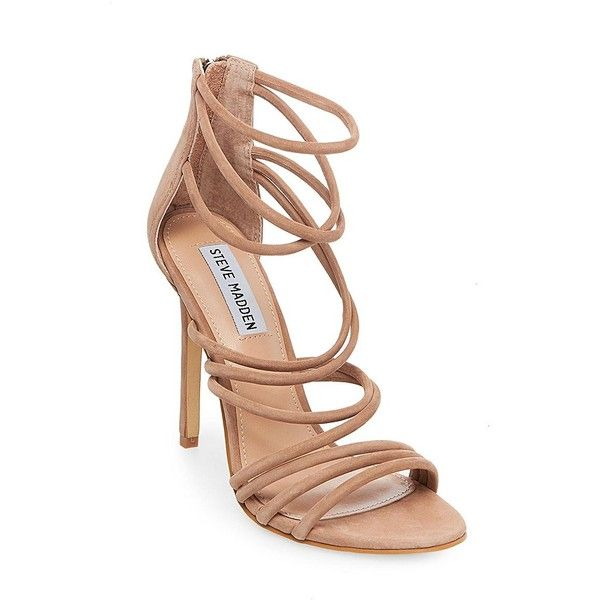 Steve Madden Santi Strappy Heeled Sandals ($109) ❤ liked on Polyvore featuring shoes, sandals, camel, strappy heel shoes, steve madden sandals, strap heels shoes, steve madden shoes and strap heel sandals