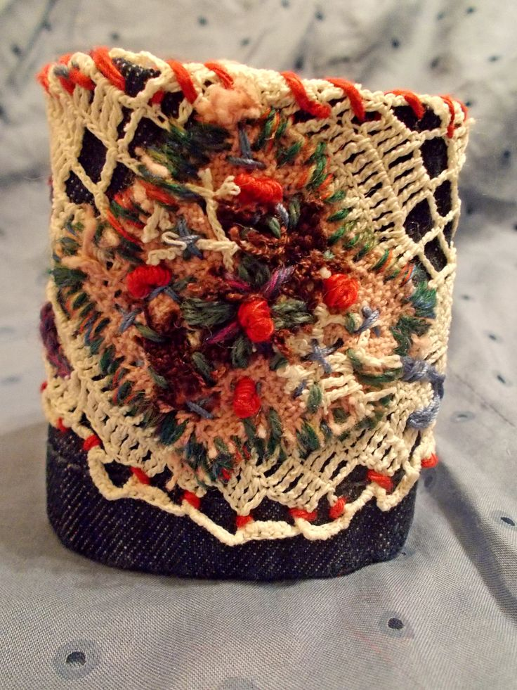 denim cuff and vintage lace with french knot embroidery. by Zestria