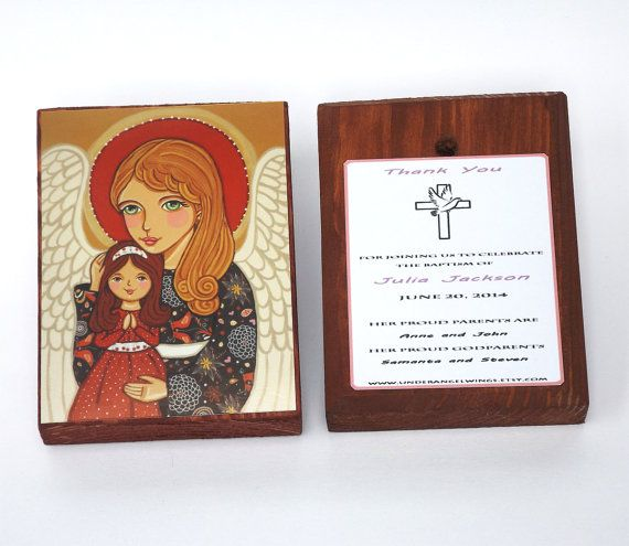 Guardian Angel Wood block print Guardian Angel print on wood Christening favor Baptism favor for girl Angel art block Guardian Angel prayer