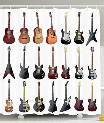 Personalised Decor Guitar Decoration for Classic Electro Guitar Lovers Theme Bathroom Decorative White Fabric Shower Curtain for Teen Bath Design Musical Instruments, http://www.amazon.com/dp/B01BLQ4DBS/ref=cm_sw_r_pi_awdm_ZxDZwb158RF8R