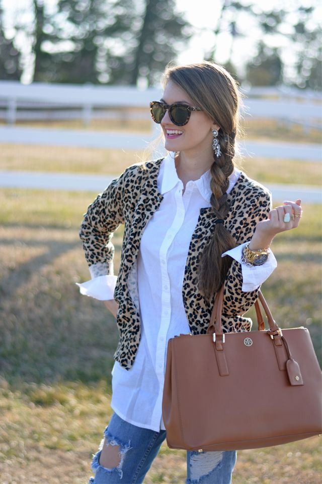 open cardigan leopard print cardigan, white button down, ripped jeans