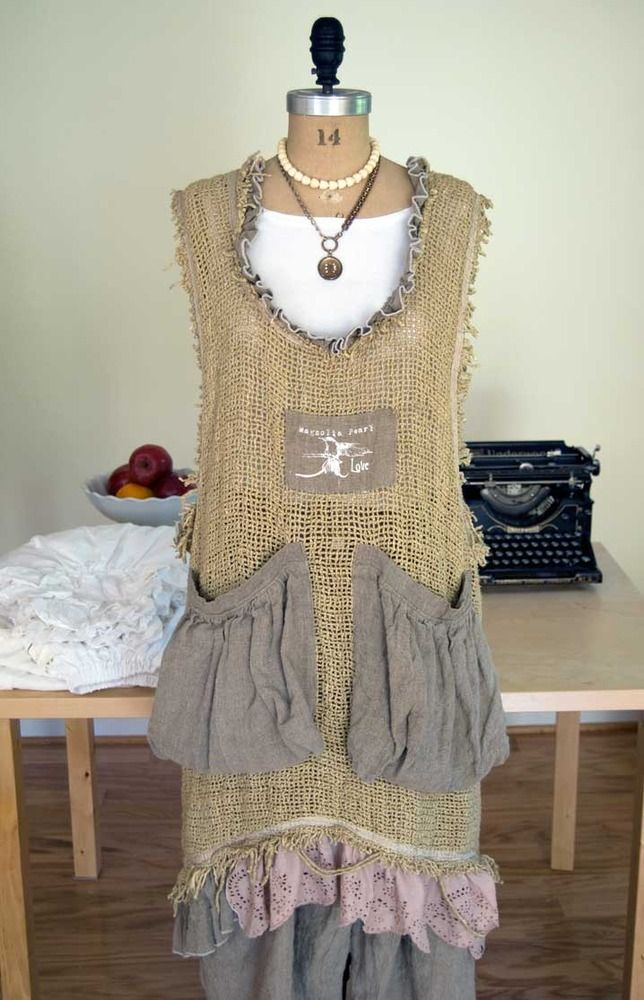 Magnolia Pearl Beulah Apron Dress in Silk Burlap  $398  **LAST ONE** by Society Hill Designs