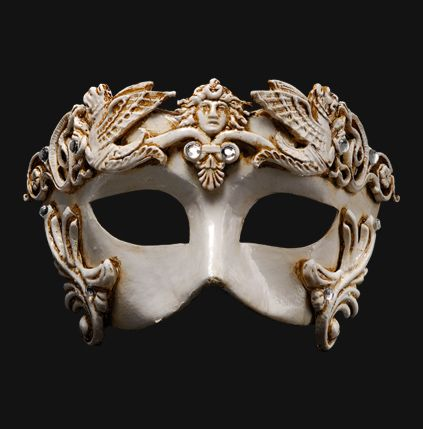 Eye Masks Barocco Grifone White   The mystery of the mythology like perfect finish touch to elegant evening. Gold, silver or bronze: you must a choice!