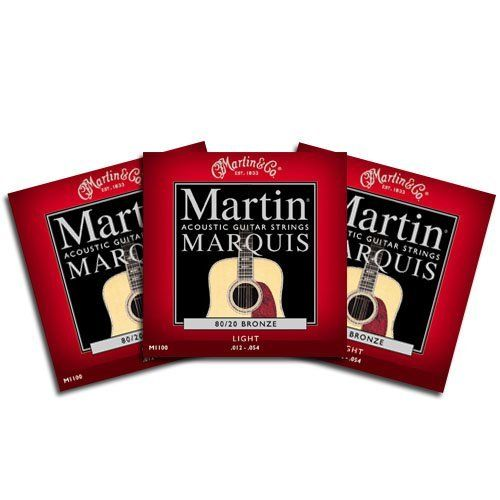 "Martin M1100 Marquis Acoustic Guitar Strings Lt 3 Packs by Martin. $9.95. Martin & Co. M1100 Marquis Acoustic Guitar Strings Light .012 - .054 80/20 Bronze.""Martin strings link you and your guitar to the music you want to play and write. It truly gets to the core of what owning and playing on Martin strings is about creating your own personal musical experience."""