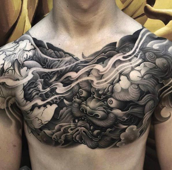 Black and grey ink Japanese chest piece by Zhanshan