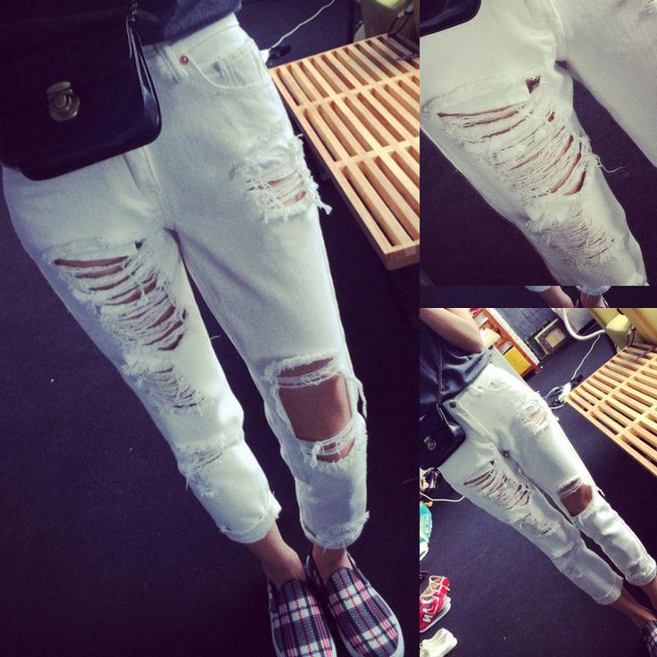 Pas cher 2015 nouvelle arrivée femmes blanc Casual Cool lâche trou Jeans déchirés Boyfriend Harem Jeans pour femmes, Acheter    de qualité directement des fournisseurs de Chine:      2015 New Arrival Spring  Rhinestone Blue Designer Ripped Spandex Denim Skinny Jeans Pants For Women Pl