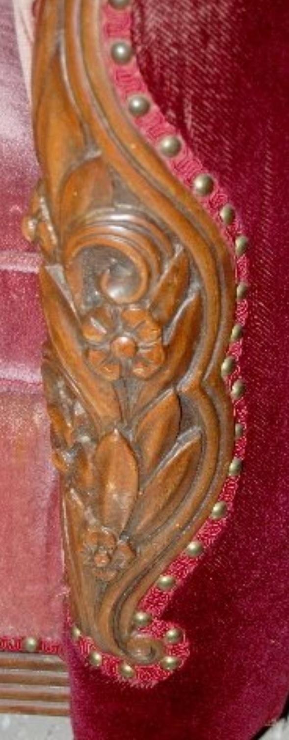 Art deco vintage leather sofa armchair - Karpen Art Deco Sofa Arm Detail