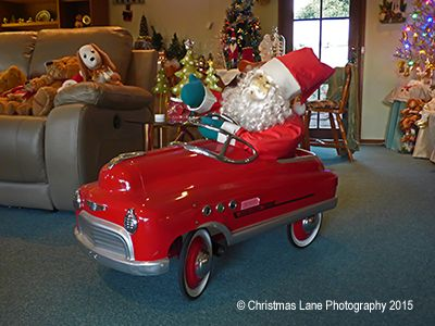Santa's little red car from Photos of Christmas Lane Lights Display 2014