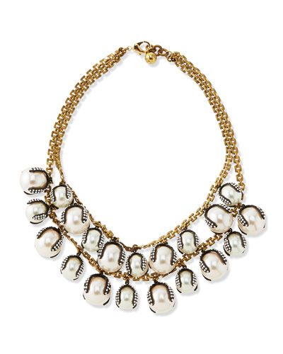 Y243H Lulu Frost Decade Simulated Pearl Statement Necklace