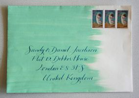 DIY stationary: this would be a fairely easy thing to do: a quick light wash of paint on an envelope. (do a stack all at once).