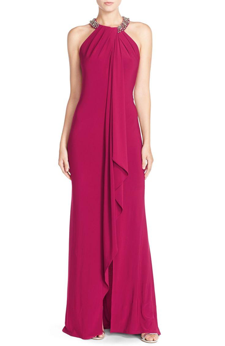 Eliza J Beaded Neck Jersey Gown (Regular & Petite)