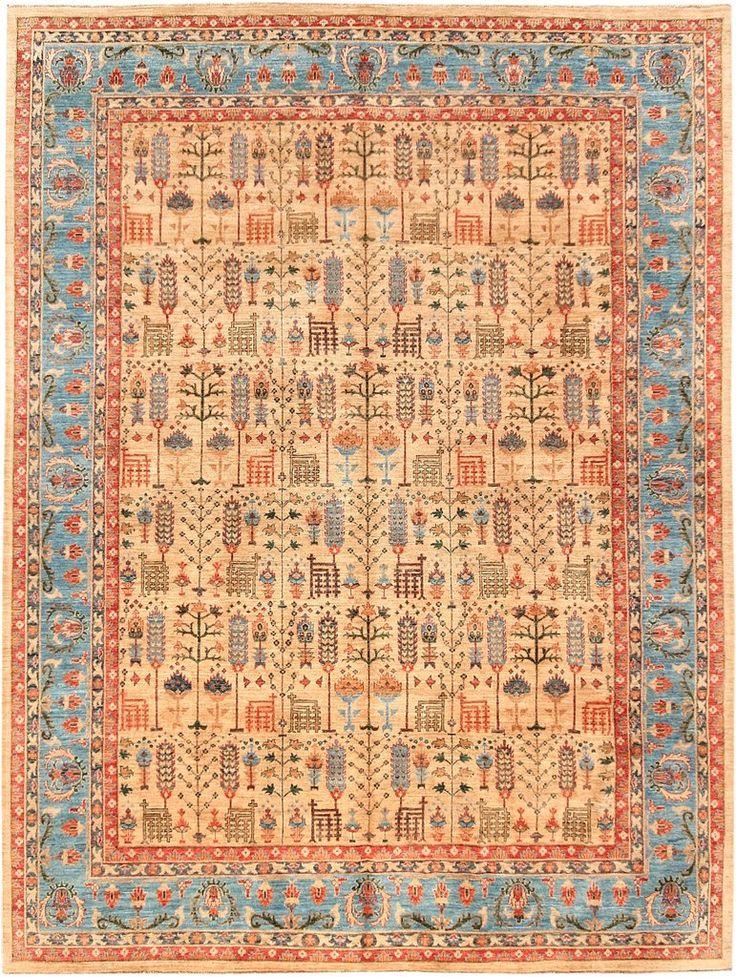 Handmade Traditional Afghan Tree Of Life Rug 360 x 272
