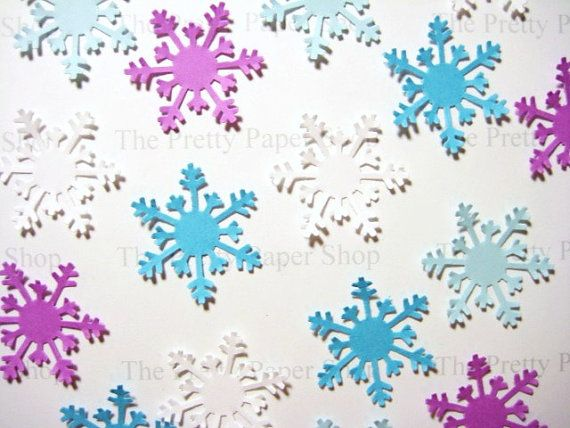 50 Frozen Arctic Snowflake embellishments    Snowflakes are hand punched from acid free cardstock. Great for Frozen Parties, scrapbooking,