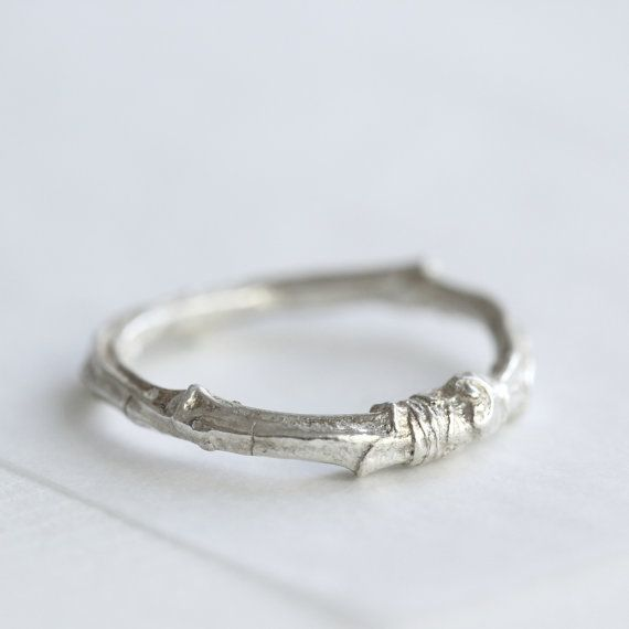 Silver twig ring twig wedding ring cherry tree by CharlotteBezzant