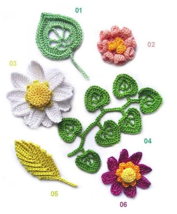 Fleurs et feuilles avec leurs grilles gratuites , au crochet ! - Le blog de Anne