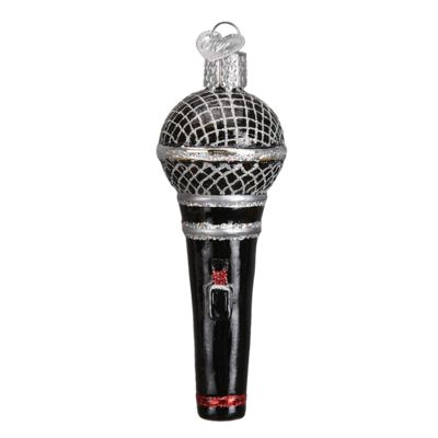"""Microphone+Christmas+Ornament+36192+Merck+Family's+Old+World+Christmas+Material: +mouth+blown,+hand+painted+glass+Size: +4""""+Includes+Free+Gift+Box+Hang+Tag: +A+"""