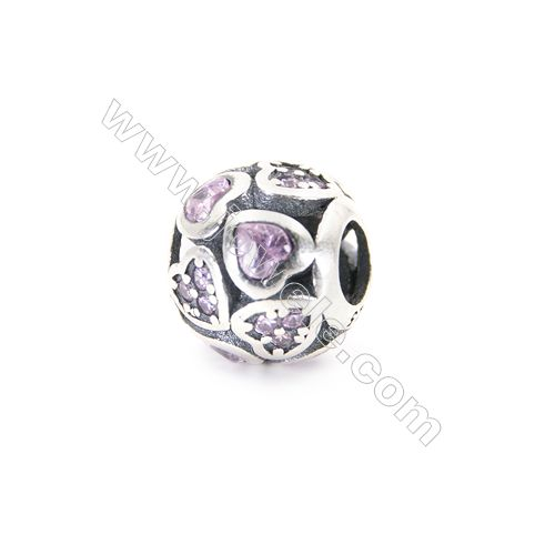 Sterling Silver Zircon Micropave European Beads