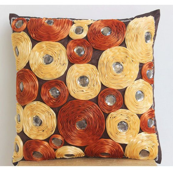 Brown Ribbon Irovy And Rust Flower 20X20 Silk Throw Pillows Cover - Royal Blooms
