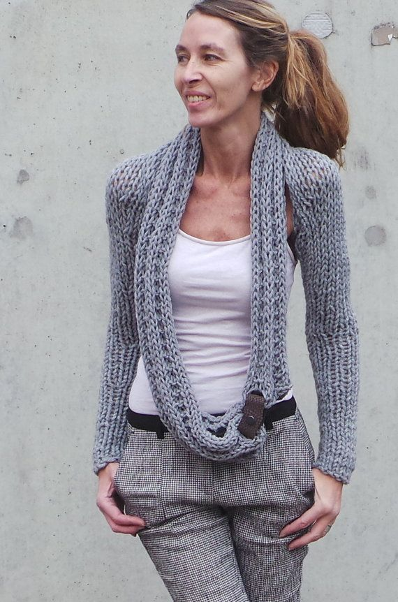 RESERVED ORDER for DENISE / Silver lightGrey shrug / grey sweater / Gray winter long sleeved warm hand knitted shrug