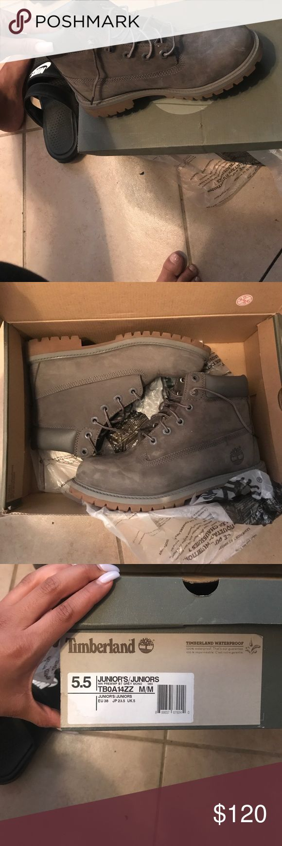 Grey timbs! Grey timberland boots! Super cute, just never get the chance to wear them or I'd keep! Price is negotiable!! 😊 Timberland Shoes Combat & Moto Boots