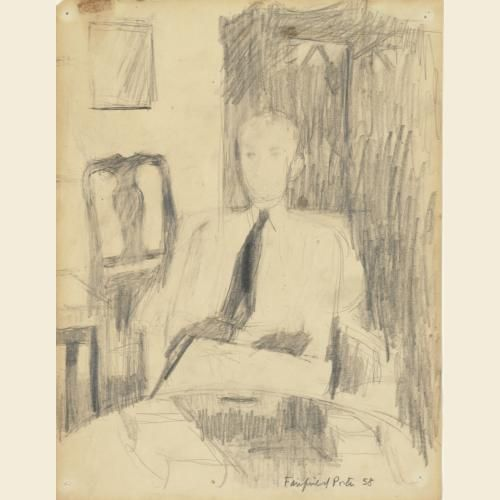 Fairfield Porter American, 1907-1975 Study for portrait of Roland F. Pease, 1958 Graphite on paper. Vassar College