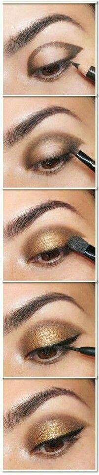 Oro Twitter e marrone/ocra eyeliner superiore ombretto bianco sgomento nel condotto lacrimale