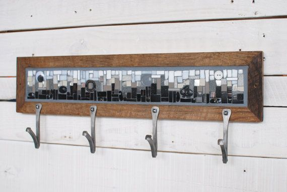 Black and White Coat Rack Handcut Mosaic & Hand-forged Hooks in reclaimed wood frame by PhoenixHandcraft