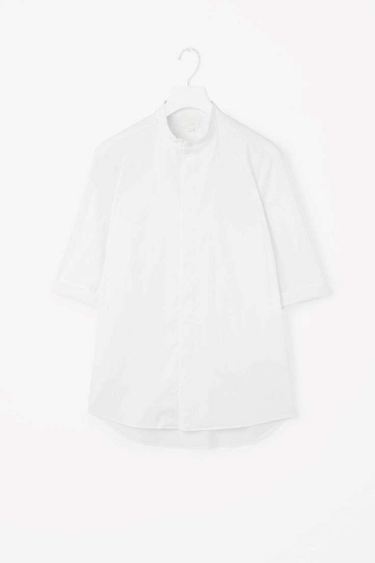 COS image 4 of 3/4 sleeve grandad shirt in White