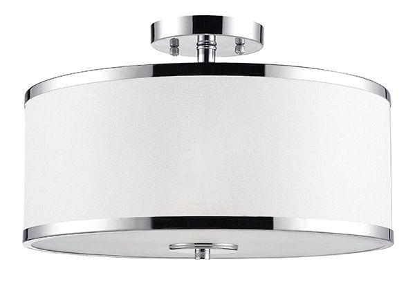 PLAFONNIER 2 LUMIERES CONCORD : Plafonnier à 2 lumières Concord. Fini chrome avec abat-jour en tissu blanc. Exige 2 ampoules A15 de 40 ou 60 watts. Pour ampoules, voir code BMR 033-2273 ou 024-6435.