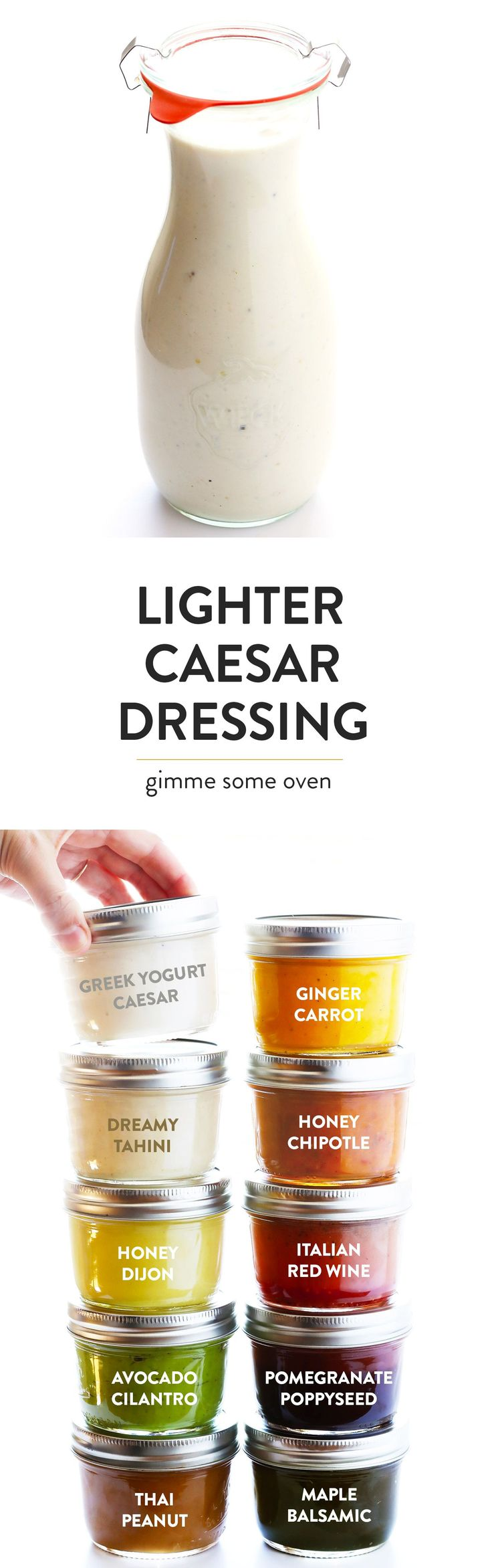 LOVE this Greek Yogurt Caesar Dressing!  It's quick and easy to make, lightened up a bit with Greek yogurt, and so delicious! | gimmesomeoven.com