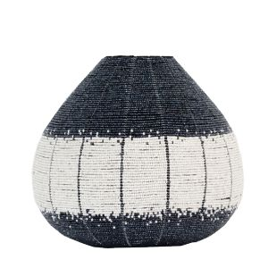 Beaded Pot - Handmade beaded vase -  silver grey and cream tones. Available at sourced4you.com.au