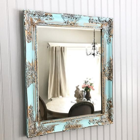 Aqua Blue Shabby Chic Mirror with Gold                         – Hallstrom Home