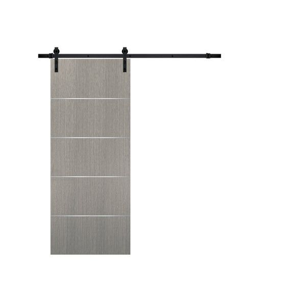 Barn Door Grey With Rail 6 6ft Hardware Planum 0020 Grey Oak Top Mount Sturdy Track Set Solid Wood Flush Modern Doors Bedroom Bathroom In 2020 Barn Door Modern Door Modern Barn Door