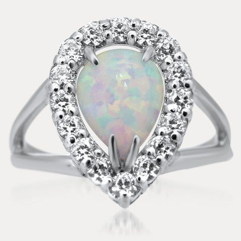 925 Silver Ring with White Opal