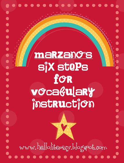 Follow the link for descriptors of all six of Marzano's steps for vocabulary instruction