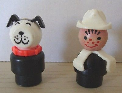 Fisher Price Little People Fireman Wood Rivet Dog White & Black Red Collar  Cake toppers Check out the store holiday sale!