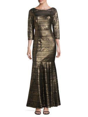KAY UNGER Metallic Trumpet Gown. #kayunger #cloth #