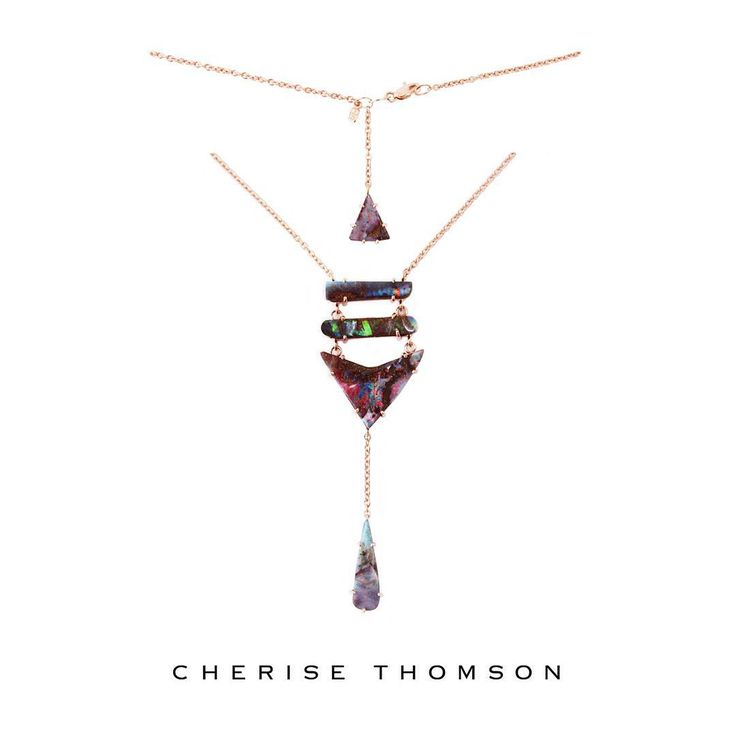 Gorgeous new Stacked Arrow Boulder Opal Necklace in Rose Gold. At cherisethomson.com & now on display at Gallery Pacific.  #OneOfAKind #BoulderOpal #StackedArrowNecklace #RoseGold #15007 #CheriseThomson #FineJewelry #Designer​ #Luxury #OpalLove #LoveGold #AustralianOpal #NewZealand #CoutureDailyDose #FutureHeirloom #ForFutureReference #GalleryPacific