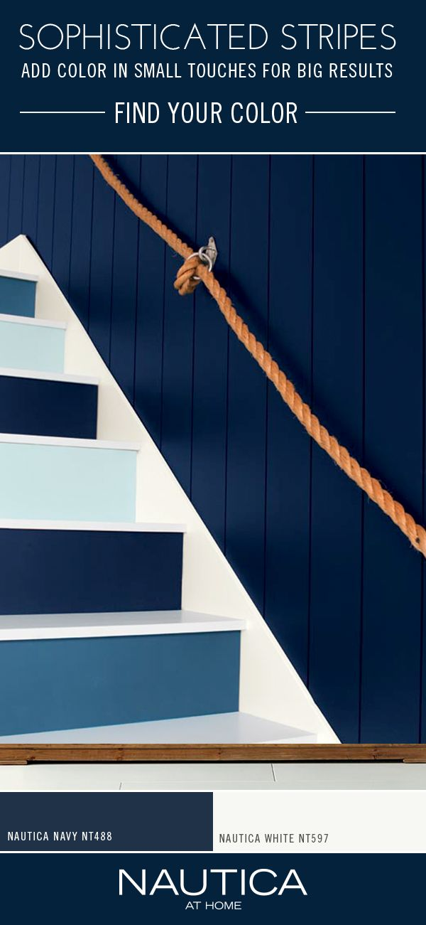Using a monochromatic scheme on your stairs is fun and unexpected. Here shades of blue provide a waterside vibe.