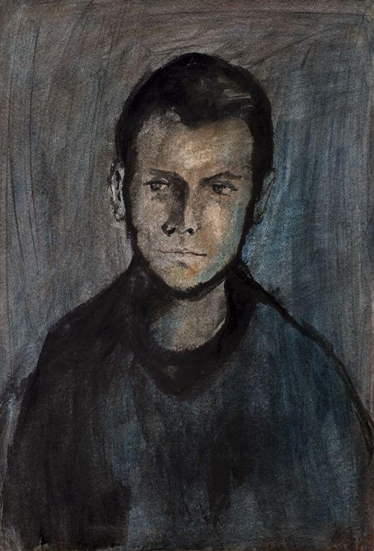 Jiří Balcar: Autoportrét / 1954 / tuš, pastel, akvarel na papíře / 65,5 x 44,7 cm  Marcel Fišer | Artplus.cz