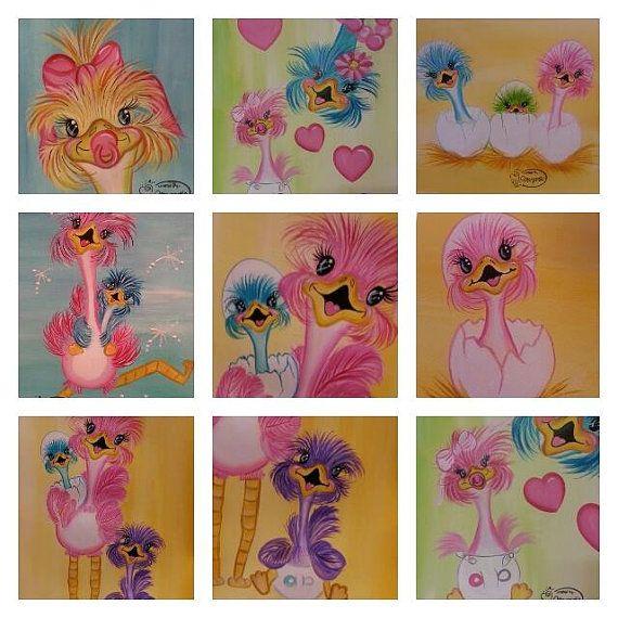 schilder patroon van grappige struisvogels door margarithafunart, €5.00